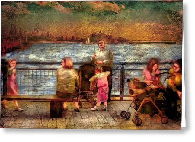 Americana - People - Jewish Families Greeting Card by Mike Savad