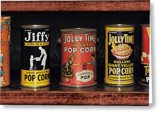1950s Movies Greeting Cards - Americana - Popcorn Tins 1920s - 1950s Greeting Card by Douglas MooreZart