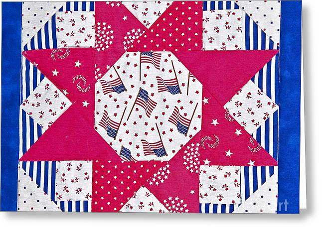 Red And White Quilt Greeting Cards - Americana Quilt Block Design Greeting Card by Valerie Garner