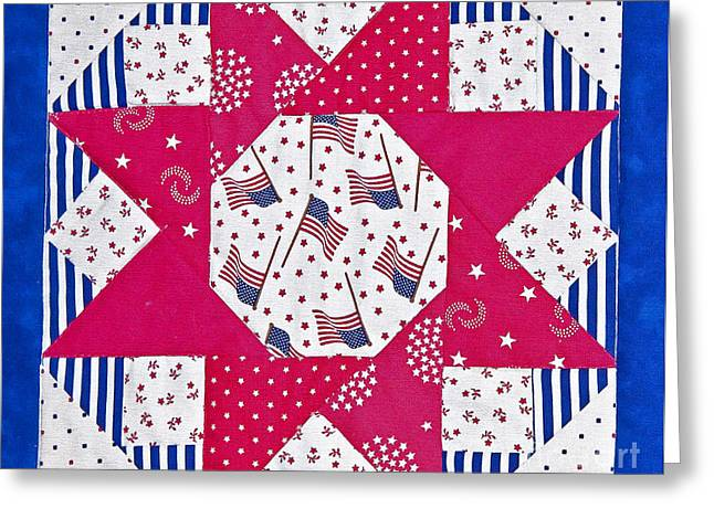 Americana Quilt Block Design Art Prints Greeting Card by Valerie Garner