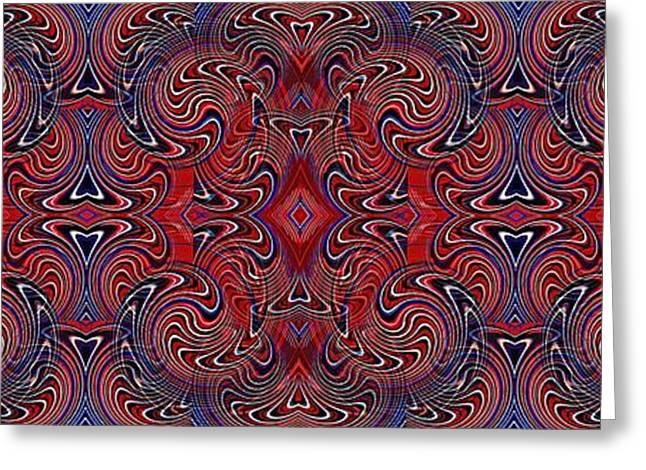July 4 Digital Greeting Cards - Americana Swirl Banner 1 Greeting Card by Sarah Loft