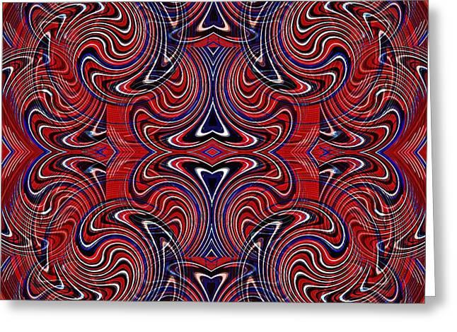 Memorial Day Digital Art Greeting Cards - Americana Swirl Design 3 Greeting Card by Sarah Loft