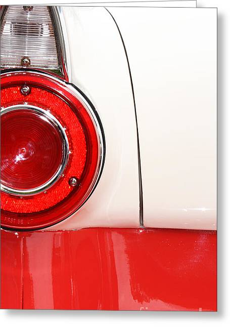 Shower Head Greeting Cards - Americana Tail Light - Vintage car in red and white Greeting Card by ArtyZen Studios - ArtyZen Home