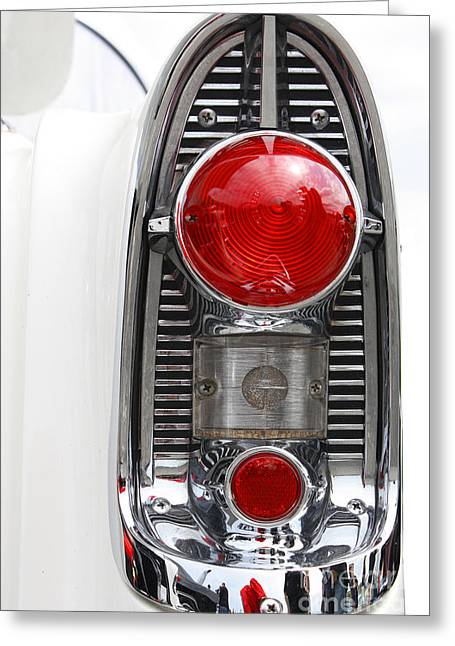 Chrome Mixed Media Greeting Cards - Americana Tail Light in White and chrome Greeting Card by AdSpice Studios