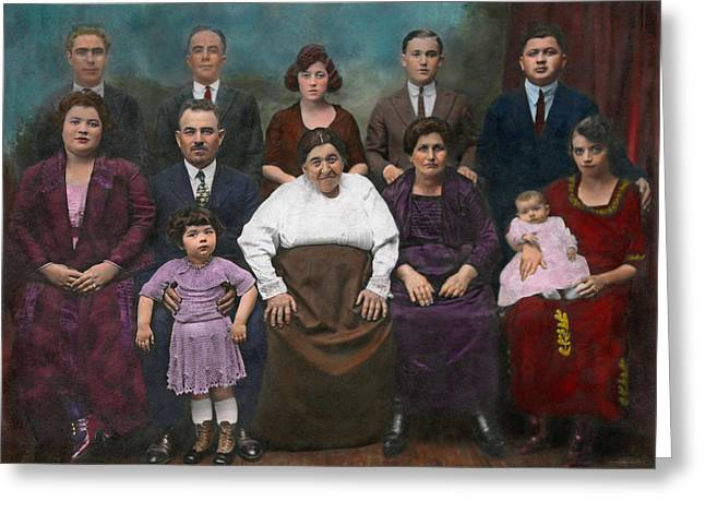 Colorized Greeting Cards - Americana - This is my family 1925 Greeting Card by Mike Savad