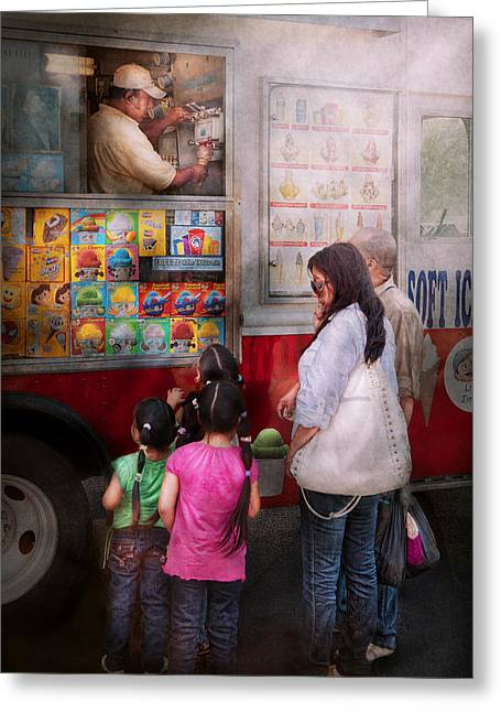 Children Ice Cream Greeting Cards - Americana - Vendor - Serving chocolate ice cream Greeting Card by Mike Savad