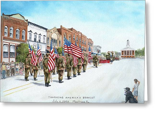 4th Of July Parade Greeting Cards - Americas Brave Greeting Card by Carol Angela Brown