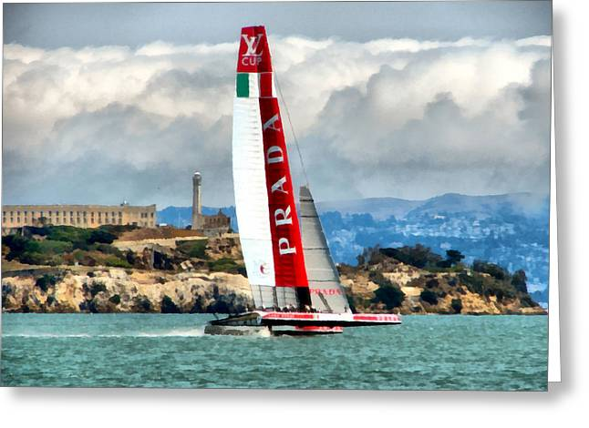 Alcatraz Digital Greeting Cards - Americas Cup and Alcatraz ll Greeting Card by Michelle Calkins