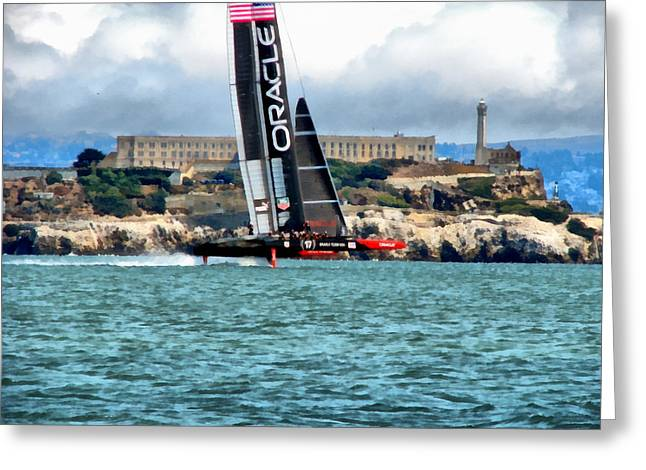Alcatraz Greeting Cards - Americas Cup and Alcatraz Greeting Card by Michelle Calkins