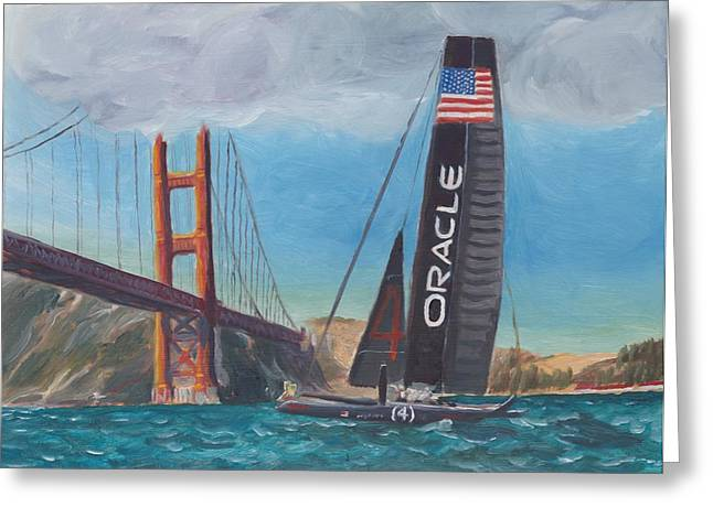 Americas Cup Greeting Cards - Americas Cup by the Golden Gate Greeting Card by James Lopez