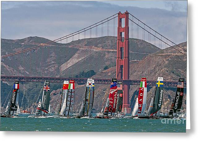 Kate Brown Greeting Cards - Americas Cup Catamarans at the Golden Gate Greeting Card by Kate Brown