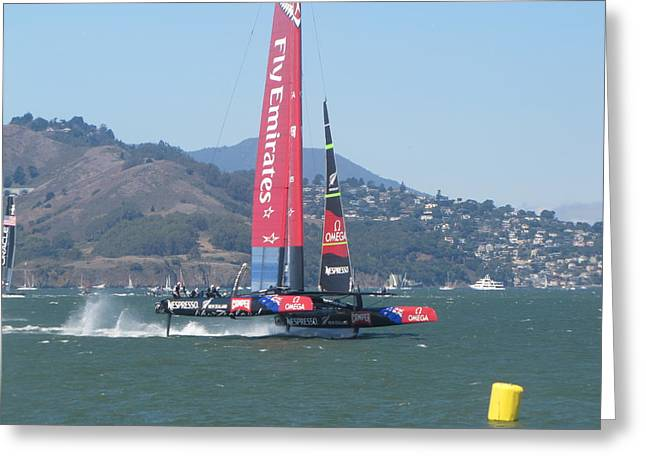 Americas Cup Greeting Cards - Americas Cup Emerates 1 Greeting Card by James Robertson