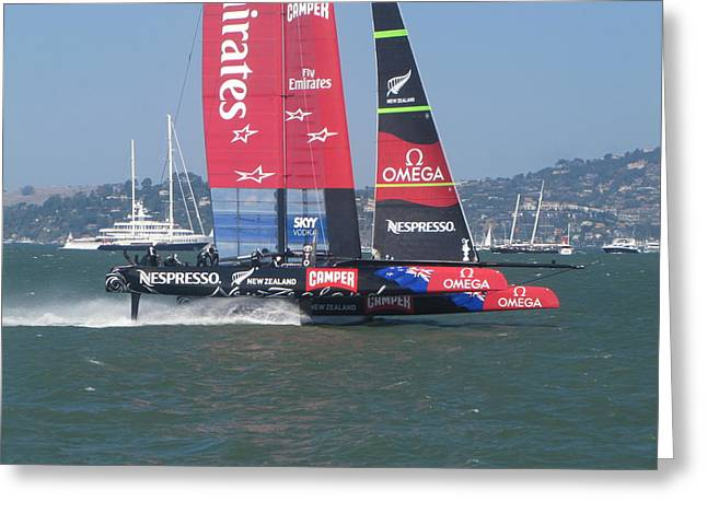 Americas Cup Greeting Cards - Americas Cup Emirates 2 Greeting Card by James Robertson
