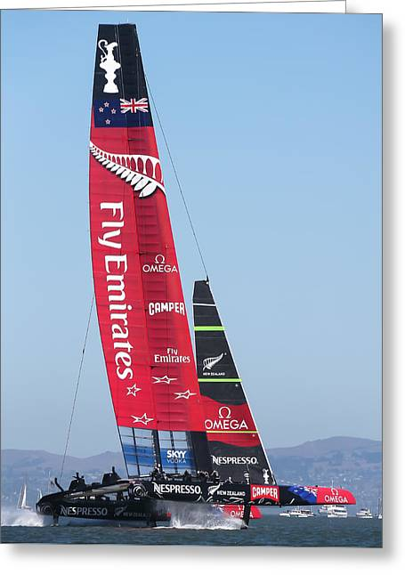 Barker Greeting Cards - Americas Cup Emirates Team New Zealand Greeting Card by Steven Lapkin