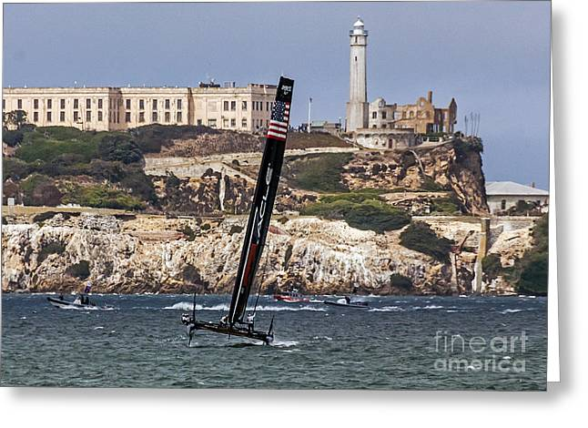 Alcatraz Greeting Cards - Americas Cup Oracle Team and Alcatraz Greeting Card by Kate Brown