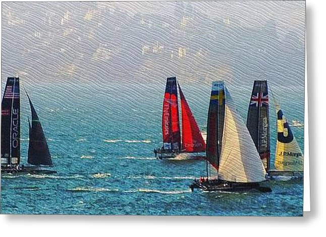 Sailboat Photos Greeting Cards - Americas Cup Racing Greeting Card by Scott Cameron