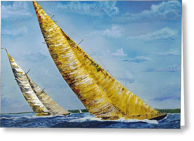 Sailing Greeting Cards - Americas Cup Sailboats Greeting Card by Impressionism Modern and Contemporary Art  By Gregory A Page