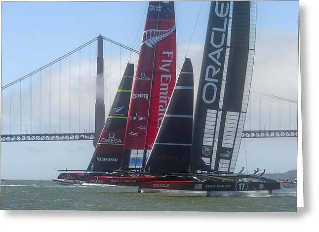 Recently Sold -  - Bay Bridge Greeting Cards - Americas Cup Start Greeting Card by Gilles Martin-Raget