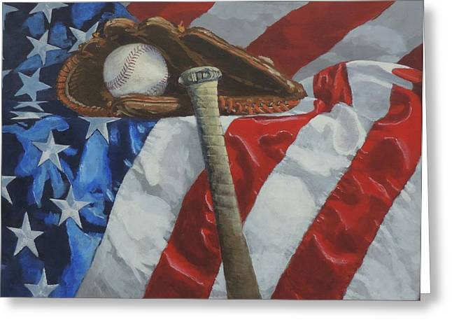 Batter Paintings Greeting Cards - Americas Game Greeting Card by Bill Tomsa