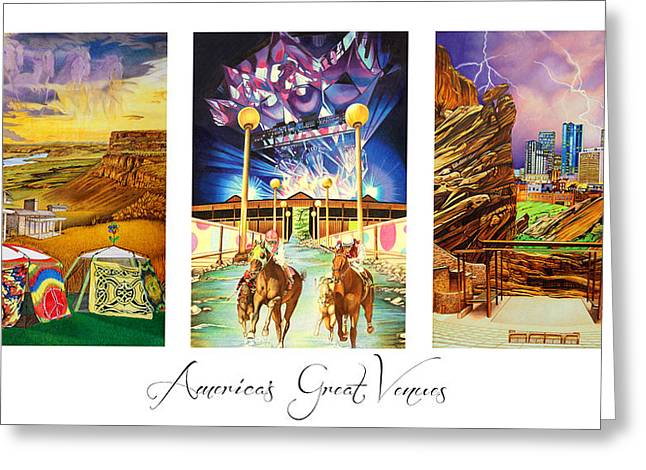 Rocks Drawings Greeting Cards - Americas Great Venues Greeting Card by Joshua Morton