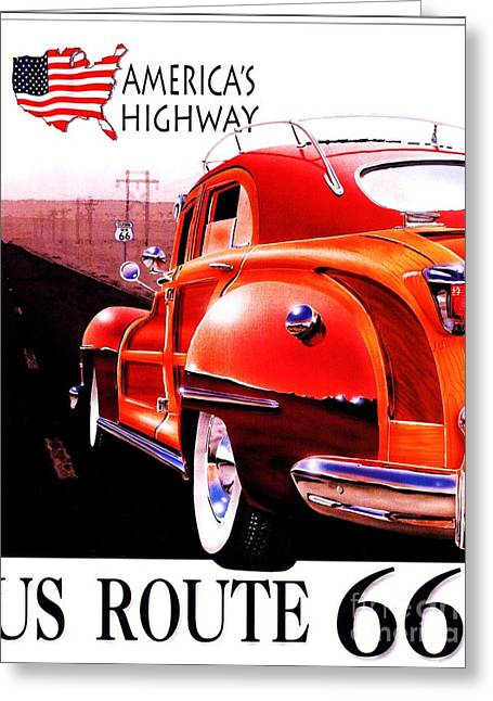 Highway Drawings Greeting Cards - Americas Highway - Route 66 Greeting Card by Pg Reproductions