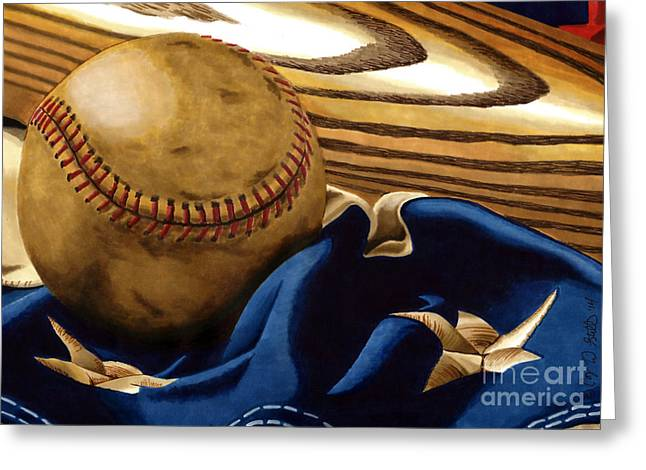 Baseball Memorabilia Greeting Cards - Americas Pastime 3 Greeting Card by Cory Still