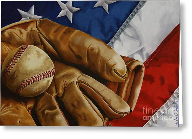 Baseball Memorabilia Greeting Cards - Americas Pastime Greeting Card by Cory Still