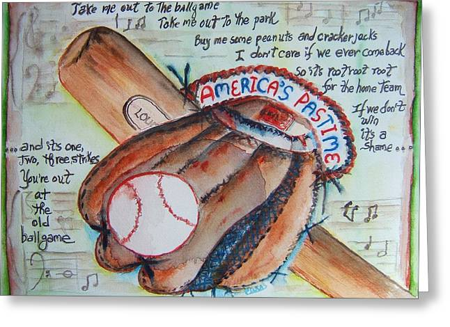 Baseball Glove Paintings Greeting Cards - Americas Pastime II Greeting Card by Elaine Duras