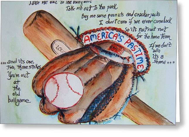 Baseball Glove Paintings Greeting Cards - Americas Pastime I Greeting Card by Elaine Duras