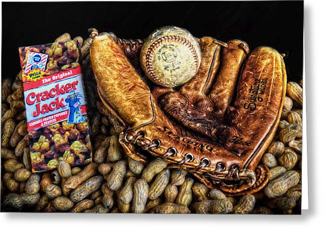 Baseball Glove Greeting Cards - Americas Pastime Greeting Card by Ken Smith