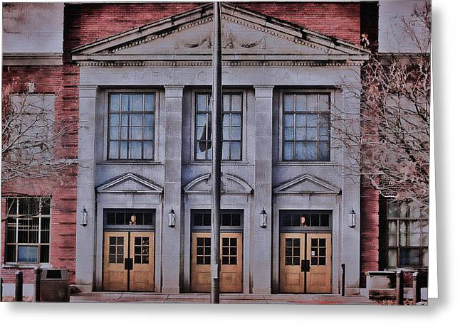 Classical Gold Mixed Media Greeting Cards - Ames Courthouse  Greeting Card by Todd and candice Dailey