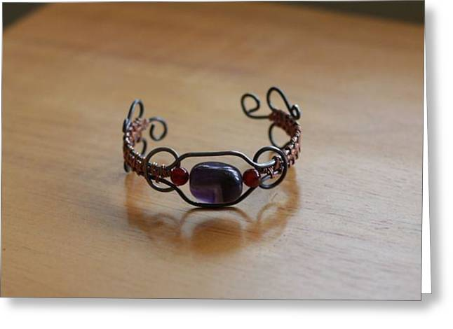 Wrap Jewelry Greeting Cards - Amethyst and Carnelian Copper Wrapped Bracelet Greeting Card by Tracy Partridge-Johnson