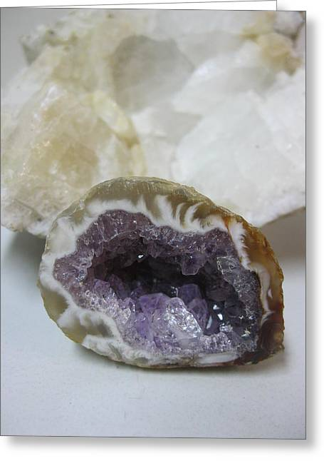 White Jewelry Greeting Cards - Amethyst and Quartz Rock Greeting Card by Beth Beck