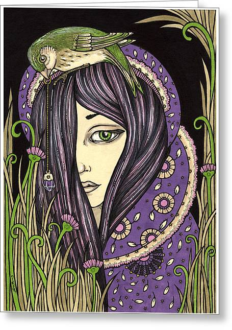 Mystic Drawings Greeting Cards - Amethyst Greeting Card by Anita Inverarity