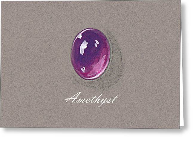 Carat Paintings Greeting Cards - Amethyst cabochon Greeting Card by Marie Esther NC