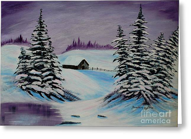 Shack Greeting Cards - Amethyst Evening after Ross Greeting Card by Barbara Griffin