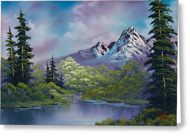 Bob Ross Paintings Greeting Cards - Amethyst Evening Greeting Card by C Steele