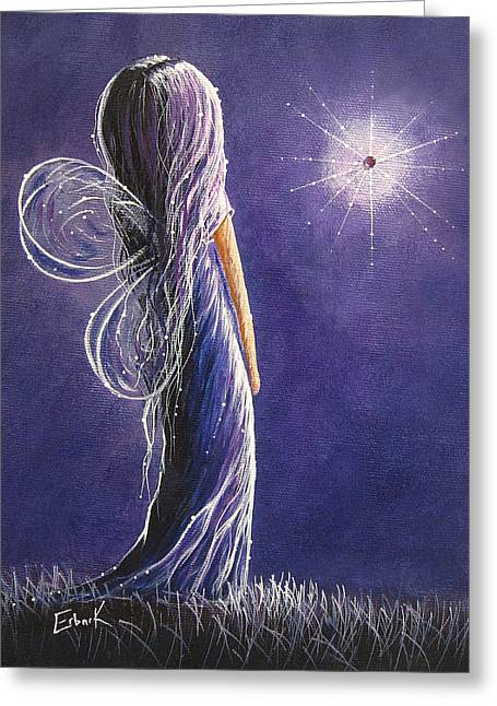 Youthful Paintings Greeting Cards - Amethyst Fairy by Shawna Erback Greeting Card by Shawna Erback