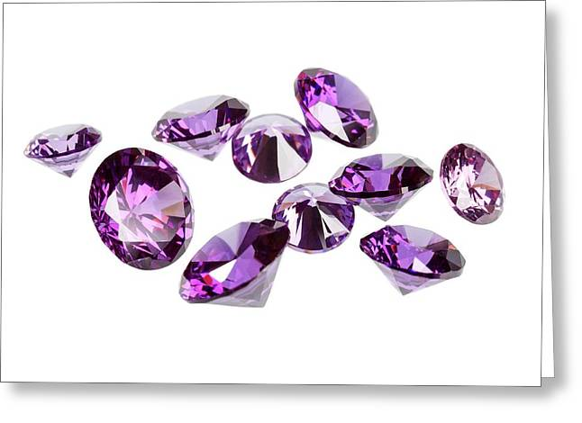 Amethyst Gemstones Greeting Card by Science Photo Library