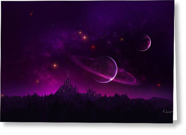 Phantasie Greeting Cards - Amethyst Night Greeting Card by Cassiopeia Art