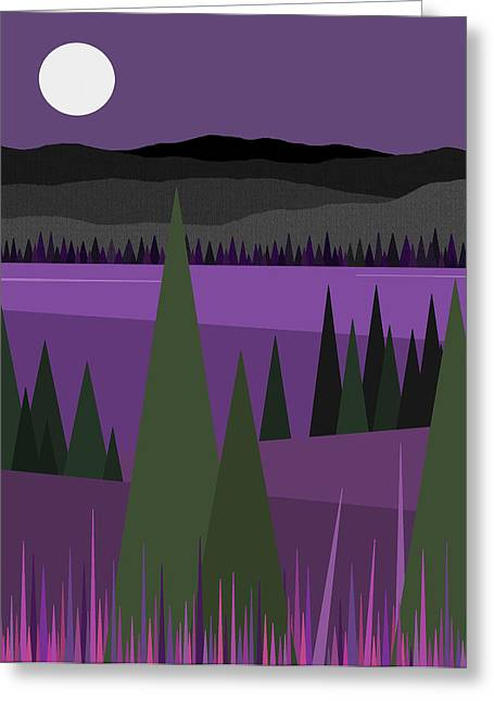 Moonlit Night Greeting Cards - Amethyst Night Greeting Card by Val Arie