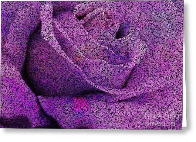 Morph Greeting Cards - Amethyst Rose Disintegrates Greeting Card by Elizabeth McTaggart