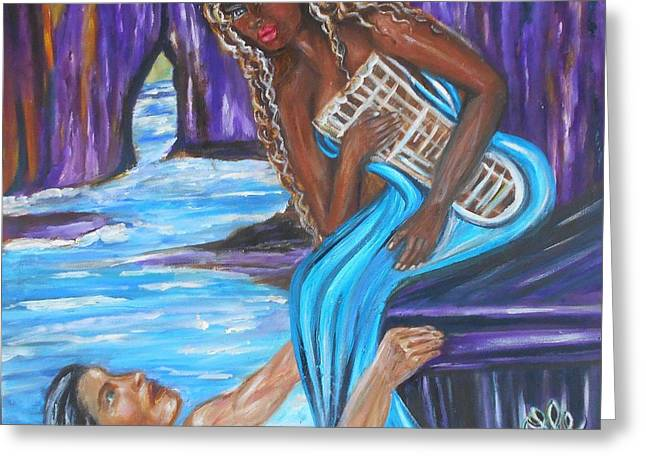 Interracial Love Greeting Cards - Amethyst - The Siren Greeting Card by Yesi Casanova