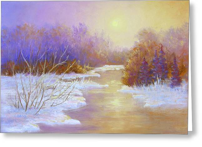 Snow Scene Landscape Pastels Greeting Cards - Amethyst Winter Greeting Card by Christine Bass