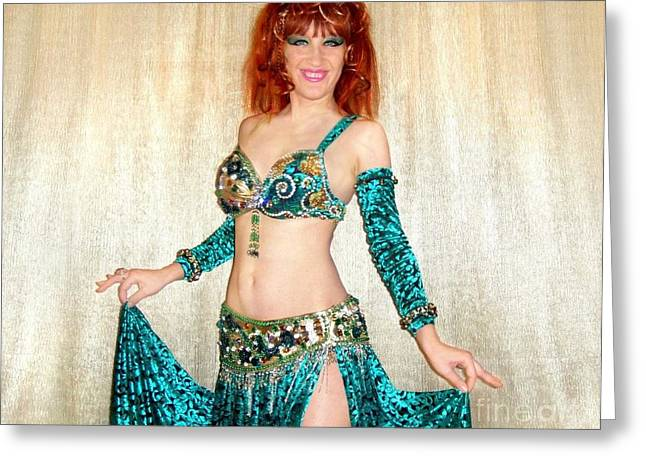Fancy-dancer Digital Greeting Cards - Ameynra belly dance fashion by Sofia Metal Queen. Gold Emerald Greeting Card by Sofia Metal Queen