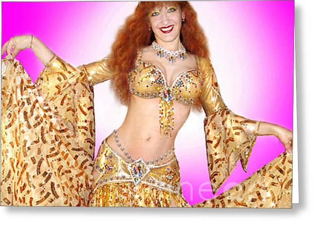 Fancy-dancer Digital Greeting Cards - Ameynra Belly Dance Fashion star Sofia Metal Queen Greeting Card by Sofia Metal Queen