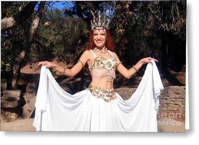 Circle Skirts Greeting Cards - Ameynra berlly dance fashion. Double circle skirt Greeting Card by Sofia Metal Queen