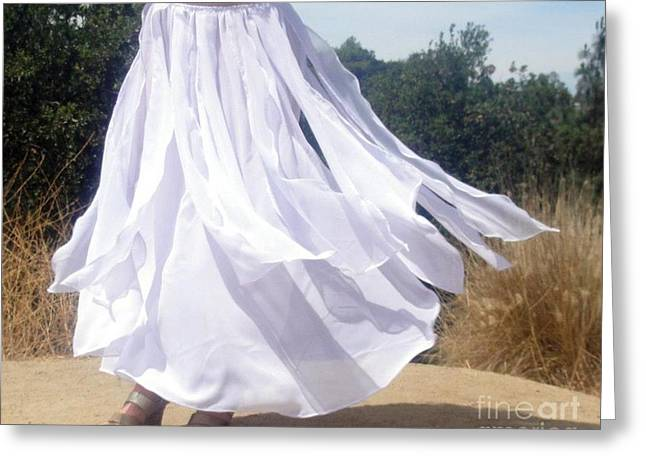 Petal Tapestries - Textiles Greeting Cards - Ameynra design white chiffon skirt Greeting Card by Ameynra Fashion
