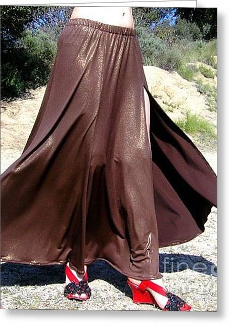 Slit Skirt Greeting Cards - Ameynra fashion brown skirt. Mermaid style Greeting Card by Ameynra Fashion