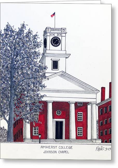 Chapel Mixed Media Greeting Cards - Amherst College Greeting Card by Frederic Kohli